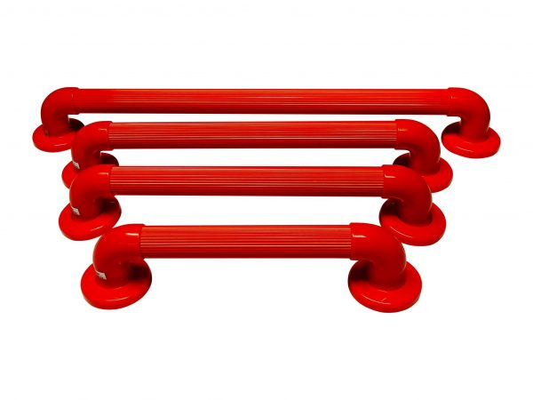4 red plastic grab rails