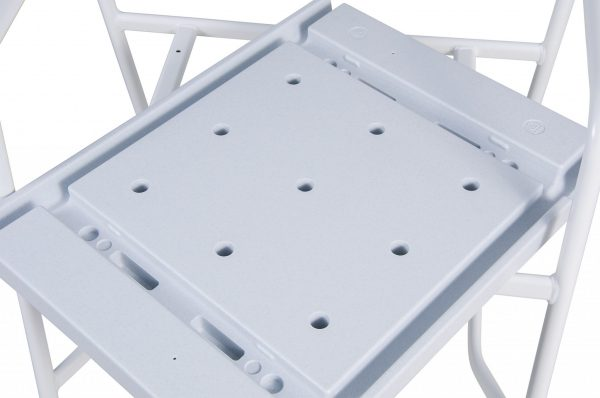 underside of a white plastic seat