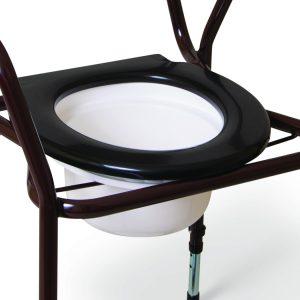 Black toilet seat on brown frame